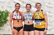 28 July 2019; Women's 400m Hurdles medallists, from left, Kelly McGrory of Tír Chonaill A.C., Co. Donegal, silver, Nessa Millet of St. Abbans A.C., Co. Laois, gold, and Karen Dunne of Bohermeen A.C., Co. Meath, bronze, during day two of the Irish Life Health National Senior Track & Field Championships at Morton Stadium in Santry, Dublin. Photo by Sam Barnes/Sportsfile