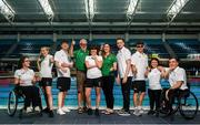 29 July 2019; In attendance are, from left, Ailbhe Kelly, Ellen Keane, Barry McClements, coach Jim Laverty, Amy Marren, manager Hayley Bourke, Jonathan McGrath, Sean O'Riordan, Nicole Turner and Patrick Flanagan during the Announcement of Team Ireland for the World Para Swimming Championships in London as Under Armour is named as the official kit supplier to Paralympics Ireland at the National Aquatic Centre in Abbotstown, Dublin. Photo by David Fitzgerald/Sportsfile