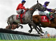 29 July 2019; Lethal Steps, left, with Davy Russell up, jumps the fifth on their way to winning the Galwaybayhotel.com & Galmont.com Novice Hurdle during Day One of the Galway Races Summer Festival 2019 in Ballybrit, Galway. Photo by Seb Daly/Sportsfile