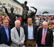 29 July 2019; An Taoiseach Leo Varadkar T.D., second right, with sculptor John Behan, second left, and Peter Allen, right, Chairman, Galway Race Committee, during Day One of the Galway Races Summer Festival 2019 in Ballybrit, Galway. Photo by Seb Daly/Sportsfile