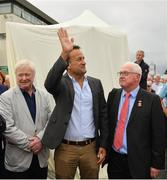 29 July 2019; An Taoiseach Leo Varadkar T.D., centre, with sculptor John Behan, left, and Peter Allen, Chairman, Galway Race Committee, during Day One of the Galway Races Summer Festival 2019 in Ballybrit, Galway. Photo by Seb Daly/Sportsfile