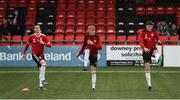 29 July 2019; Ciaran Coll, left, Ciaron Harkin, centre, and Eoin Toal of Derry City warm up prior to the SSE Airtricity League Premier Division match between Derry City and Waterford at Ryan McBride Brandywell Stadium in Derry. Photo by Oliver McVeigh/Sportsfile