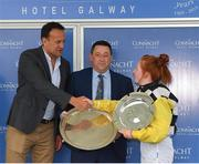29 July 2019; Jockey Jody Townend is congratulated by An Taoiseach Leo Varadkar T.D. after winning the Connacht Hotel Handicap on Great White Shark during Day One of the Galway Races Summer Festival 2019 in Ballybrit, Galway. Photo by Seb Daly/Sportsfile