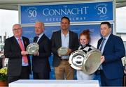 29 July 2019; Jockey Jody Townend and trainer Willie Mullins, second left, are joined on the winners podium by An Taoiseach Leo Varadkar T.D., centre, after winning the Connacht Hotel Handicap with Great White Shark during Day One of the Galway Races Summer Festival 2019 in Ballybrit, Galway. Photo by Seb Daly/Sportsfile