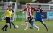 29 July 2019; Greg Sloggett of Derry City in action against Shane Duggan of Waterford United during the SSE Airtricity League Premier Division match between Derry City and Waterford at Ryan McBride Brandywell Stadium in Derry. Photo by Oliver McVeigh/Sportsfile