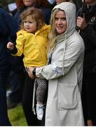 21 July 2019; Wife and daughter of Shane Lowry, Wendy Honner and daughter Iris on Day Four of the 148th Open Championship at Royal Portrush in Portrush, Co Antrim. Photo by Brendan Moran/Sportsfile