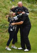 21 July 2019; Shane Lowry of Ireland celebrates with his sister Sinead after winning the Open Championship on Day Four of the 148th Open Championship at Royal Portrush in Portrush, Co Antrim. Photo by Brendan Moran/Sportsfile