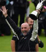 21 July 2019; Brendan Lowry, father of Shane Lowry of Ireland, celebrates with the Claret Jug after winning the Open Championship on Day Four of the 148th Open Championship at Royal Portrush in Portrush, Co Antrim. Photo by Brendan Moran/Sportsfile