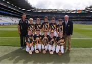 27 July 2019; INTO Mini-Games co-ordinator Gerry O'Meara, with the Kilkenny team, back row, left to right, Cormac Simpson, Murrintown NS, Murrintown, Wexford, Oisín Whelan, Scoil Asicus Naofa, Strandhill, Sligo, Jack Murtagh, Scoil Mhuire, Loughegar, Mullingar, Westmeath, Maitiú Ó Bruadair, Gaelscoil na Camóige, Clondalkin, Dublin, Derry Óg Cox, Aghamore NS, Ballyhaunis, Mayo, front row, left to right, Kevin Plunkett, St. Mary's NS, Knockbridge, Louth, Ruairí Biggs, St Canice Primary School, Feeny, Derry, Seán Bohan, Ballinamoney NS, Bailieborough, Cavan, Liam Mac an Fhailghigh, Scoil an tSeachtar Laoch, Dublin, Cahir Keyes, All Saints' PS, Omagh, Tyrone, ahead of the INTO Cumann na mBunscol GAA Respect Exhibition Go Games at the GAA Hurling All-Ireland Senior Championship Semi-Final match between Limerick and Kilkenny at Croke Park in Dublin. Photo by Daire Brennan/Sportsfile