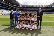 27 July 2019; Uachtarán Chumann Lúthchleas Gael John Horan, with the Kilkenny team, back row, left to right, Cormac Simpson, Murrintown NS, Murrintown, Wexford, Oisín Whelan, Scoil Asicus Naofa, Strandhill, Sligo, Jack Murtagh, Scoil Mhuire, Loughegar, Mullingar, Westmeath, Maitiú Ó Bruadair, Gaelscoil na Camóige, Clondalkin, Dublin, Derry Óg Cox, Aghamore NS, Ballyhaunis, Mayo, front row, left to right, Kevin Plunkett, St. Mary's NS, Knockbridge, Louth, Ruairí Biggs, St Canice Primary School, Feeny, Derry, Seán Bohan, Ballinamoney NS, Bailieborough, Cavan, Liam Mac an Fhailghigh, Scoil an tSeachtar Laoch, Dublin, Cahir Keyes, All Saints' PS, Omagh, Tyrone, ahead of the INTO Cumann na mBunscol GAA Respect Exhibition Go Games at the GAA Hurling All-Ireland Senior Championship Semi-Final match between Limerick and Kilkenny at Croke Park in Dublin. Photo by Daire Brennan/Sportsfile