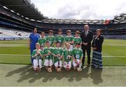 27 July 2019; Uachtarán Chumann Lúthchleas Gael John Horan, with the Limerick team, back row, left to right, Rory O'Callaghan, St. Paul's NS, Dooradoyle, Limerick, Bríon Sherry, Scoil Mhuire mBuachaillí, Castleblayney, Monaghan, Dylan McKeever, St. Patrick's NS, Loch Gowna, Cavan, Dean Walsh, St Pauls PS, Navan, Meath, Luke Tully, Ballintleva NS, Curraghboy, Athlone, Roscommon, front row, left to right, Ronan Brennan, St Naile's PS, Kinawley, Fermanagh, Eoghan Morris, Tisrara NS, Four Roads, Roscommon, Cian Cronin, Ballyhass National School, Mallow, Cork, Cathal Curneen, Diffreen NS, Manorhamilton, Leitrim, Charlie Lineen, Bunscoil Bhóthar na Naomh, Lismore, Waterford, ahead of the INTO Cumann na mBunscol GAA Respect Exhibition Go Games at the GAA Hurling All-Ireland Senior Championship Semi-Final match between Limerick and Kilkenny at Croke Park in Dublin. Photo by Daire Brennan/Sportsfile