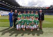 27 July 2019; INTO Mini-Games Co-ordinator Gerry O'Meara, with the Limerick team, back row, left to right, Rory O'Callaghan, St. Paul's NS, Dooradoyle, Limerick, Bríon Sherry, Scoil Mhuire mBuachaillí, Castleblayney, Monaghan, Dylan McKeever, St. Patrick's NS, Loch Gowna, Cavan, Dean Walsh, St Pauls PS, Navan, Meath, Luke Tully, Ballintleva NS, Curraghboy, Athlone, Roscommon, front row, left to right, Ronan Brennan, St Naile's PS, Kinawley, Fermanagh, Eoghan Morris, Tisrara NS, Four Roads, Roscommon, Cian Cronin, Ballyhass National School, Mallow, Cork, Cathal Curneen, Diffreen NS, Manorhamilton, Leitrim, Charlie Lineen, Bunscoil Bhóthar na Naomh, Lismore, Waterford, ahead of the INTO Cumann na mBunscol GAA Respect Exhibition Go Games at the GAA Hurling All-Ireland Senior Championship Semi-Final match between Limerick and Kilkenny at Croke Park in Dublin. Photo by Daire Brennan/Sportsfile