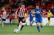 29 July 2019; David Parkhouse of Derry City in action against Shane Duggan of Waterford United during the SSE Airtricity League Premier Division match between Derry City and Waterford at Ryan McBride Brandywell Stadium in Derry. Photo by Oliver McVeigh/Sportsfile