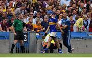 28 July 2019; John McGrath of Tipperary leaves the pitch after being shown a red card during the GAA Hurling All-Ireland Senior Championship Semi Final match between Wexford and Tipperary at Croke Park in Dublin. Photo by Brendan Moran/Sportsfile