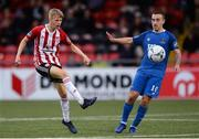 29 July 2019; Ciaron Harkin of Derry City in action against Tom Holland of Waterford during the SSE Airtricity League Premier Division match between Derry City and Waterford at Ryan McBride Brandywell Stadium in Derry. Photo by Oliver McVeigh/Sportsfile