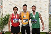 28 July 2019; Men's 800m medallists, from left, John Fitzsimons of Kildare A.C., Co. Kildare, silver, Mark English of U.C.D. A.C., Co. Dublin, gold, and Dean Cronin of Blarney/Inniscara A.C., Co. Cork, bronze, during day two of the Irish Life Health National Senior Track & Field Championships at Morton Stadium in Santry, Dublin. Photo by Sam Barnes/Sportsfile