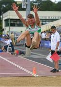 28 July 2019; Colm Bourke of Raheny Shamrock A.C., Co. Dublin, competing in the Men's Long Jump  during day two of the Irish Life Health National Senior Track & Field Championships at Morton Stadium in Santry, Dublin. Photo by Harry Murphy/Sportsfile