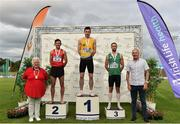 28 July 2019; Men's 800m medallists, from left, John Fitzsimons of Kildare A.C., Co. Kildare, silver, Mark English of U.C.D. A.C., Co. Dublin, gold, and Dean Cronin of Blarney/Inniscara A.C., Co. Cork, bronze, with Athletics Ireland President Georgina Drumm, far left, and Jim Dowdall, Irish Life Health, far right,  during day two of the Irish Life Health National Senior Track & Field Championships at Morton Stadium in Santry, Dublin. Photo by Sam Barnes/Sportsfile
