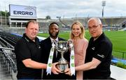 30 July 2019; Dublin manager Tom Gray and Cork manager Keith Ricken were in Croke Park at the EirGrid U20 Football All-Ireland Final preview event ahead of this Saturday's decider. EirGrid, the state-owned company that manages and develops Ireland's electricity grid, has partnered with the GAA since 2015 as sponsor of the U20 GAA Football All-Ireland Championship. Pictured at the event, from left, Cork manager Keith Ricken, Daniel Caines, Senior Communications Lead, EirGrid, Louise Glennon, Senior Communications Specialist, EirGrid and Dublin manager Tom Gray. Photo by Brendan Moran/Sportsfile