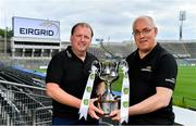 30 July 2019; Cork manager Keith Ricken, left, and Dublin manager Tom Gray in Croke Park at the EirGrid U20 Football All-Ireland Final preview event ahead of this Saturday's decider. EirGrid, the state-owned company that manages and develops Ireland's electricity grid, has partnered with the GAA since 2015 as sponsor of the U20 GAA Football All-Ireland Championship. Photo by Brendan Moran/Sportsfile