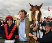30 July 2019; Jockey Colin Keane and trainer Adrian McGuinness after sending out Saltonstall to win the Colm Quinn BMW Mile Handicap on Day Two of the Galway Races Summer Festival 2019 in Ballybrit, Galway. Photo by Seb Daly/Sportsfile