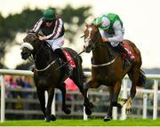 31 July 2019; Diamond Hill, with Paul Townend up, right, races alongside Days Without End, with Davy Russell up, on their way to winning the Tote Supporting Irish Racing Since 1930 Maiden Hurdle on Day Three of the Galway Races Summer Festival 2019 in Ballybrit, Galway. Photo by Seb Daly/Sportsfile