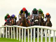 31 July 2019; Favourite Dancing On My Own, left, with Rachael Blackmore up, alongside eventual second place Days Without End, with Davy Russell up, during the Tote Supporting Irish Racing Since 1930 Maiden Hurdle on Day Three of the Galway Races Summer Festival 2019 in Ballybrit, Galway. Photo by Seb Daly/Sportsfile