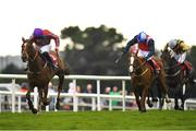 31 July 2019; Bercasa, with David Mullins up, left, on their way to winning the Sign Up For A Tote Account Irish EBF Mares Handicap Hurdle on Day Three of the Galway Races Summer Festival 2019 in Ballybrit, Galway. Photo by Seb Daly/Sportsfile