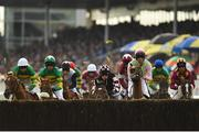 31 July 2019; Pylonthepressure, pink hat, with David Mullins up, approaches the first during the thetote.com Galway Plate Handicap Steeplechase on Day Three of the Galway Races Summer Festival 2019 in Ballybrit, Galway. Photo by Seb Daly/Sportsfile