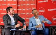 31 July 2019; SuperValu, Ireland's largest grocery retailer with over 220 stores nationwide, teamed up with Ireland's leading sports broadcasters, Off The Ball, to bring their award-winning show on the road this summer, to celebrate SuperValu's 10th year as sponsor of the GAA Football All-Ireland Senior Championship. Joined by a host of special guests, the SuperValu Off The Ball roadshow landed in Dr Crokes GAA Club, last Wednesday, 31st July. Pictured are presenter Nathan Murphy, left, and former Kerry footballer Kieran Donaghy at the Dr Crokes GAA Club in Killarney, Kerry. Photo by Brendan Moran/Sportsfile