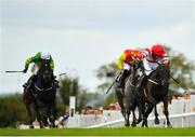 1 August 2019; Dandy Mag, right, with David Mullins up, on their way to winning the Guinness Beginners Steeplechase on Day Four of the Galway Races Summer Festival 2019 in Ballybrit, Galway. Photo by Seb Daly/Sportsfile