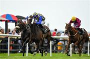 1 August 2019; Waitingfortheday, centre, with Donnacha O'Brien up, on their way to winning the Rockshore Handicap on Day Four of the Galway Races Summer Festival 2019 in Ballybrit, Galway. Photo by Seb Daly/Sportsfile