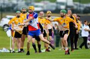 1 August 2019; Henry Keyes of New York in action against Emmet Kent of Middle East in the Irish Born Hurling Cup semi-final game during the Renault GAA World Games 2019 Day 4 at WIT Arena, Carriganore, Co. Waterford. Photo by Piaras Ó Mídheach/Sportsfile