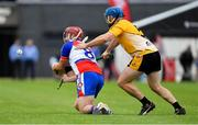 1 August 2019; Michael Sheedy of New York in action against Padraig Keogh of Middle East in the Irish Born Hurling Cup semi-final game during the Renault GAA World Games 2019 Day 4 at WIT Arena, Carriganore, Co. Waterford. Photo by Piaras Ó Mídheach/Sportsfile