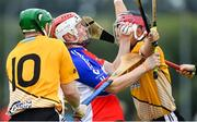 1 August 2019; William Brazil of New York is tackled by Niall McGloughlin, left, and Tom Corcoran of Middle East in the Irish Born Hurling Cup semi-final game during the Renault GAA World Games 2019 Day 4 at WIT Arena, Carriganore, Co. Waterford. Photo by Piaras Ó Mídheach/Sportsfile