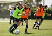 1 August 2019; Jess Gargan, left, and Lauren Dwyer during a Republic of Ireland Women's team training session at Dignity Health Sports Park in Pasadena, California, USA. Photo by Cody Glenn/Sportsfile