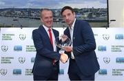 1 August 2019; De La Salle coach Gavin Lonergan is presented with an award for grassroots football by FAI General Manager Noel Mooney during the launch of the National Football Exhibition Waterford at Waterford City Hall in Waterford. Photo by Matt Browne/Sportsfile