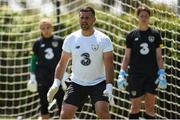 1 August 2019; Goalkeeping coach Gianluca Kohn works with goalkeepers Grace Moloney, left, and Marie Hourihan during a Republic of Ireland women's team training session at Dignity Health Sports Park in Carson, California, USA. Photo by Cody Glenn/Sportsfile