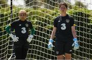 1 August 2019; Republic of Ireland goalkeepers Marie Hourihan, right, and Grace Moloney during a team training session at Dignity Health Sports Park in Carson, California, USA. Photo by Cody Glenn/Sportsfile