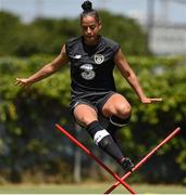 1 August 2019; Rianna Garrett jumps an obstacle during a Republic of Ireland women's team training session at Dignity Health Sports Park in Carson, California, USA. Photo by Cody Glenn/Sportsfile