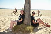 2 August 2019;  Forward Amber Barrett, left, and goalkeeper Marie Hourihane relax under a palm tree during a Republic of Ireland Women's Team visit to Venice Beach in Los Angeles, California, USA. Photo by Cody Glenn/Sportsfile