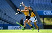 2 August 2019; Claire Walsh of Middle East, left, in action against Keira Kinahan Murphy of Australasia in the Renault GAA World Games Camogie Irish Cup Final during the Renault GAA World Games 2019 Day 5 - Cup Finals at Croke Park in Dublin. Photo by Piaras Ó Mídheach/Sportsfile