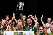 2 August 2019; Australasia captain Sammy McKillen lifts the cup after beating Middle East in the Renault GAA World Games Camogie Irish Cup Final during the Renault GAA World Games 2019 Day 5 - Cup Finals at Croke Park in Dublin. Photo by Piaras Ó Mídheach/Sportsfile
