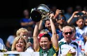 2 August 2019; Australasia captain Caroline Kelly lifts the Rachel Kenneally Cup after beating Parnell Ladies in the Renault GAA World Games Ladies Football Irish Cup Final during the Renault GAA World Games 2019 Day 5 - Cup Finals at Croke Park in Dublin. Photo by Piaras Ó Mídheach/Sportsfile