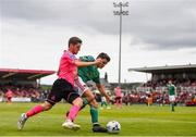 28 July 2019; Daire O'Connor of Cork City and Dylan Watts of Shamrock Rovers during the SSE Airtricity League Premier Division match between Cork City and Shamrock Rovers at Turners Cross in Cork. Photo by Ben McShane/Sportsfile