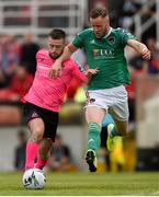 28 July 2019; Jack Byrne of Shamrock Rovers and Kevin O'Connor of Cork City during the SSE Airtricity League Premier Division match between Cork City and Shamrock Rovers at Turners Cross in Cork. Photo by Ben McShane/Sportsfile
