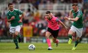 28 July 2019; Jack Byrne of Shamrock Rovers and Kevin O'Connor, right, and Mark O'Sullivan of Cork City during the SSE Airtricity League Premier Division match between Cork City and Shamrock Rovers at Turners Cross in Cork. Photo by Ben McShane/Sportsfile