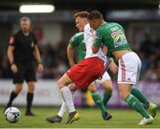 2 August 2019; Gary Shaw of St Patrick's Athletic in action against Dan Casey of Cork City during the SSE Airtricity League Premier Division match between Cork City and St Patrick's Athletic at Turners Cross in Cork. Photo by Eóin Noonan/Sportsfile