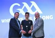 2 August 2019; Uachtaráin Cumann Lúthchleas Gael John Horan and Paddy Magee, Country Manager for Renault Ireland, presents a Native Men's Gaelic Football Best & Fairest Award to Mikey Brosnan from New York Freedom during the Renault GAA World Games 2019 Closing Reception at Croke Park in Dublin. Photo by Matt Browne/Sportsfile