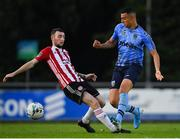 2 August 2019; Yoyo Mahdy of UCD in action against Jamie McDonagh of Derry City during the SSE Airtricity League Premier Division match between UCD and Derry City at the UCD Bowl in Belfield, Dublin. Photo by Ramsey Cardy/Sportsfile